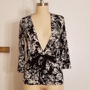 Black and White Silk Blend Floral Cardigan